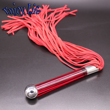 WP01400 glass dildo handle red suede whip Spanking sex toys, Real Leather Knit Whip, Adult Flirting Knout SM Sex Toys