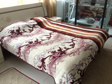 SOLID FLANNEL SHERPA BLANKETS/HORSE STITCHING 2015 DESIGN