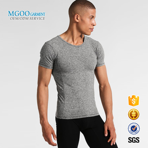 OEM dry fit gym sportswear skin custom logo muscle tight t shirts for men cheap blank o neck short sleeve t shirt