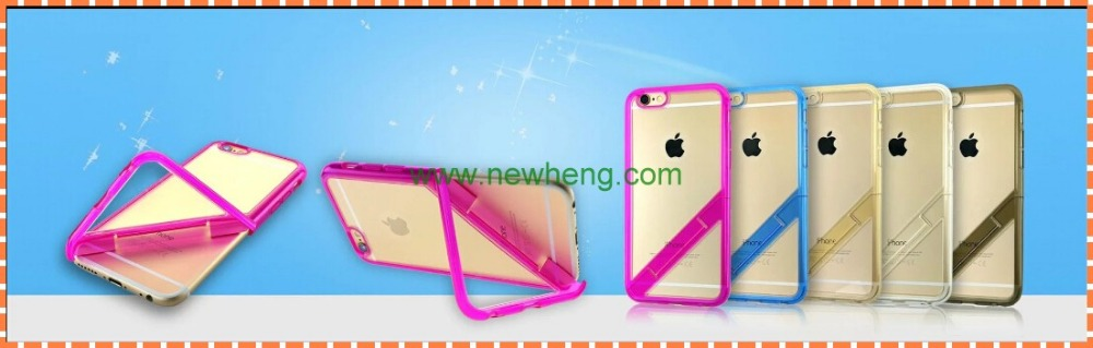 New arrival clear tpu pc phone case with folding stand for iphone 6s
