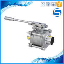 304/316L sanitary stainless steel three piece welded ball valve
