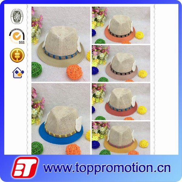 cheap custom children straw hat colorful kid hat