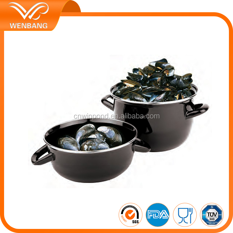 Black color enamel sea food pot with customized logo