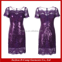 ME002 Purple lace and sequin designer bling bling mother of the bride dresses knee length