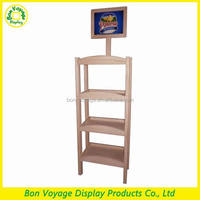 customized 3 tiers wood flooring standing display rack with sign holder