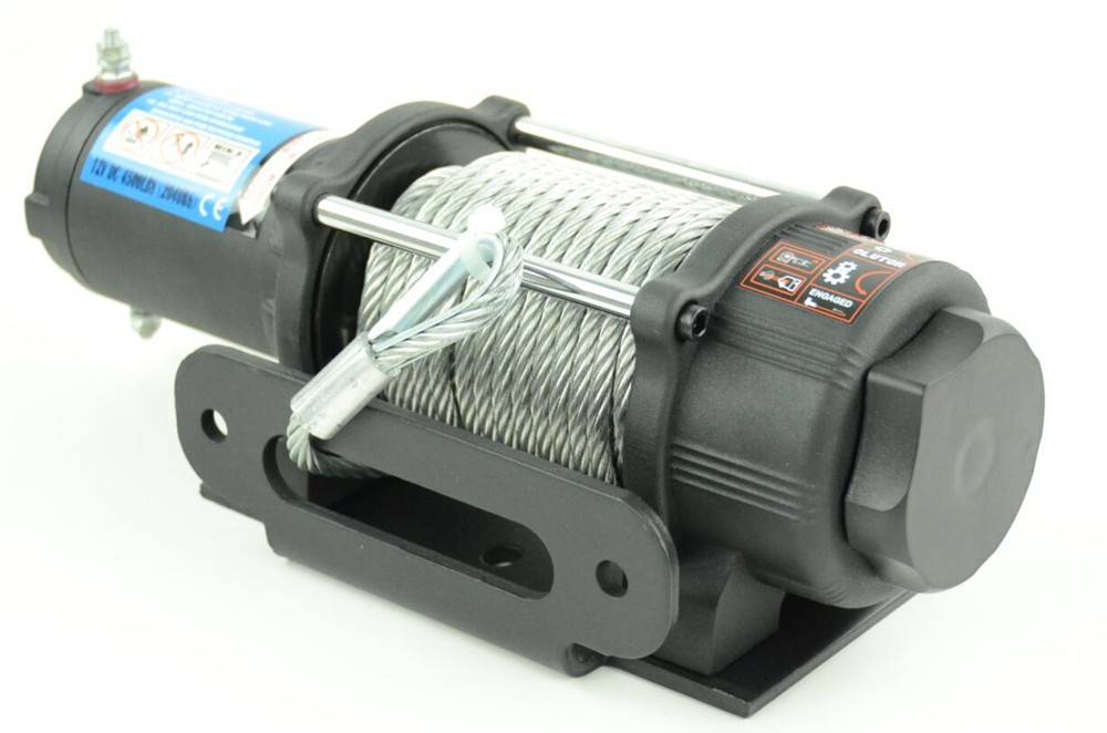 12 volt 4500LB ATV/UTV electric winch with synthetic rope good quality