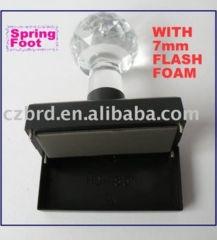 manufacture luxury crystal handle flash stamp office pre inked flash foam stamp