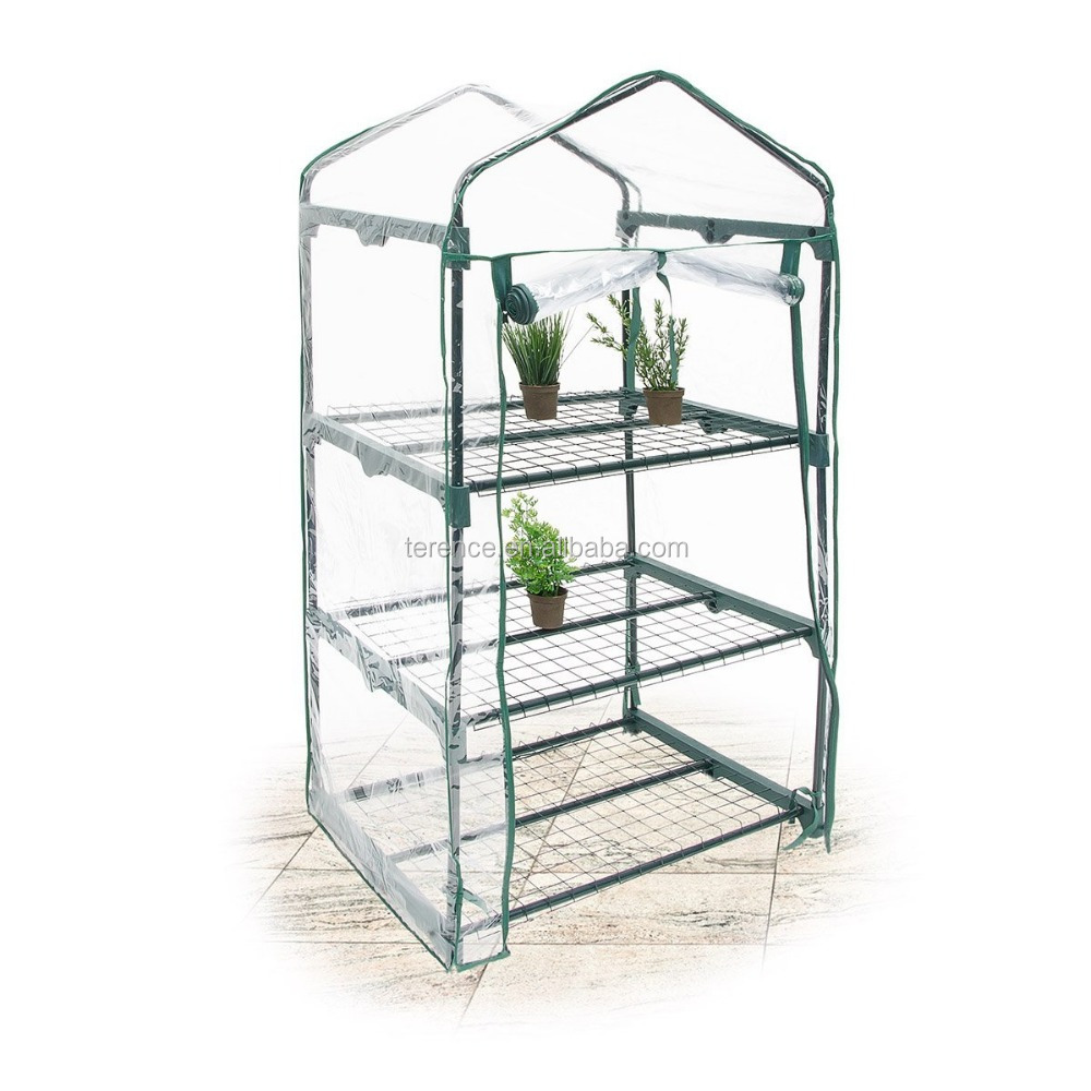 3 Tier plastic cover Mini indoor Greenhouse with Shelves