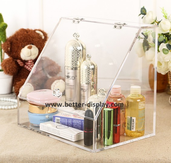 black acrylic 360 rotating makeup organizer with makeup brush organizer
