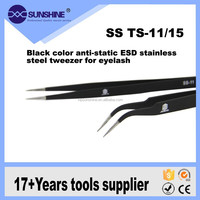 black color anti-static ESD stainless steel tweezer for eyelash