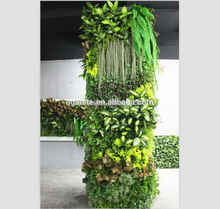jungle style long leaf green wall high density indoor solid wall decorations