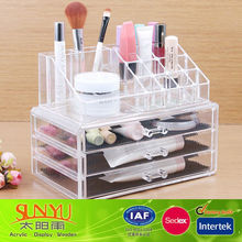2014 New Fashion 1Set Acrylic Makeup Organizer Box Case / Clear With 3 Storage Drawers