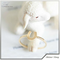 Golden Alloy Horse Shoes Ring for sale