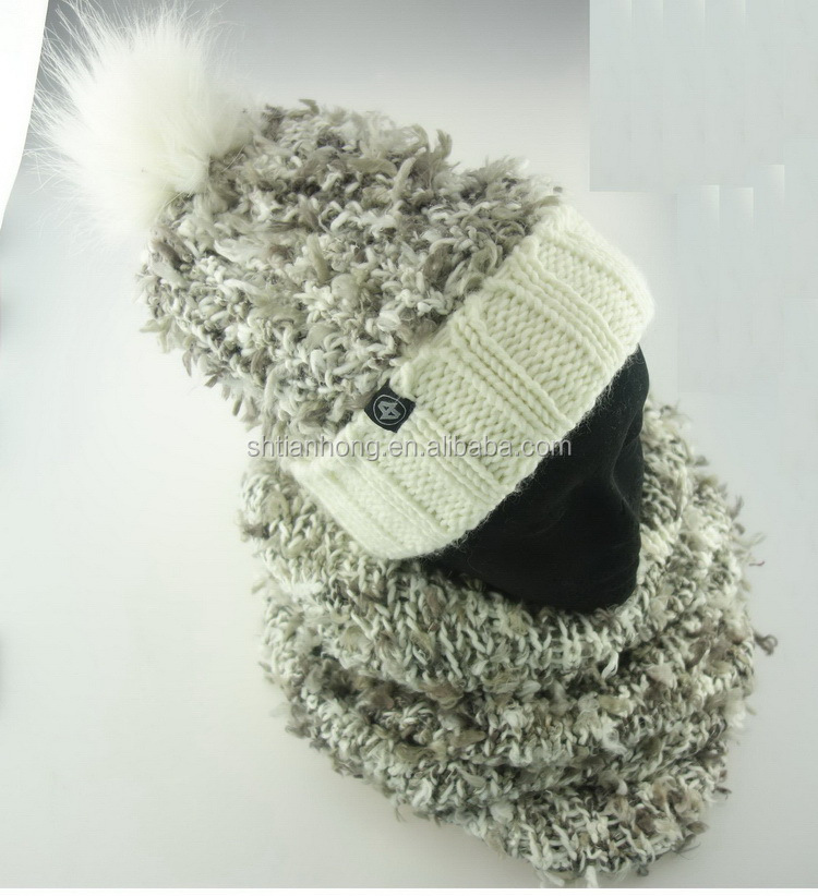 Custom wholesale hot sale knitted earflap hat and scarf
