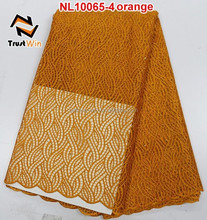 Believe win 2015 hot selling material polyester fabric net lace nigeria NL10065 orange