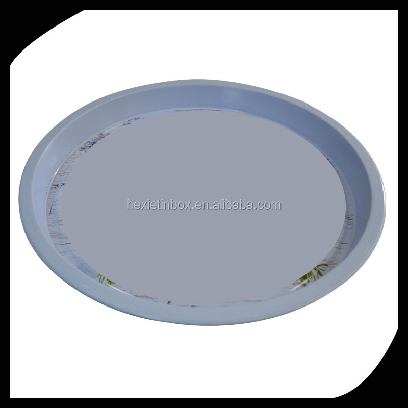 Promotional use customized big round tin tray /Metal pan