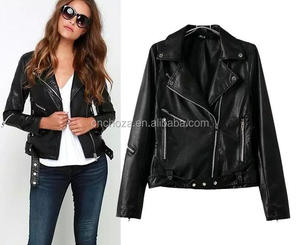 Z51668B ebay hot sell fashion leather zip up moto coat fashion black women leather jacket