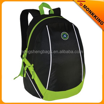 2015 spring hot selling backpack, light polyester fabric, black and green color, school bag
