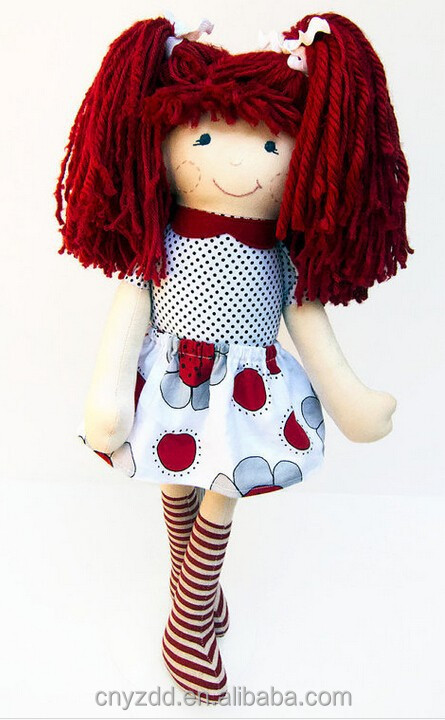 Stuffed Soft Smiling Cloth Rag Doll in the Skirt/ Smiling Face Rag Doll with Dark Red Hair