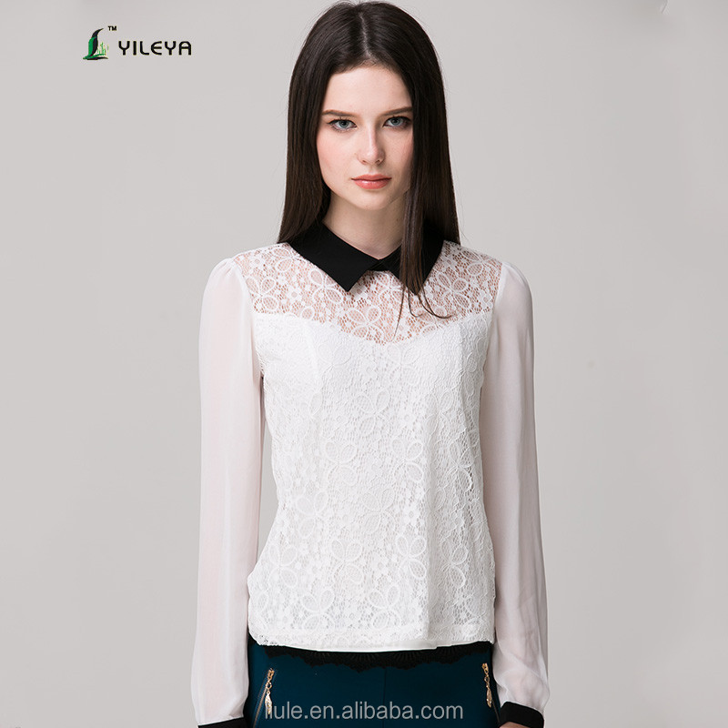 turn down collar designed white chiffon ladies cotton blouse with lining