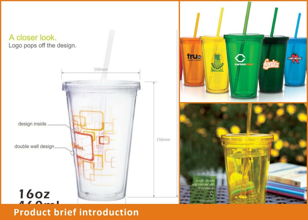 hot new 500ml double wall plastic travel tube cup