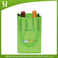 green non woven material cheap wine bags/wholesale carrier bags