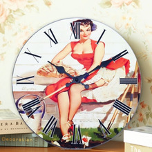 12'' round MDF new design decorative wood wall bedroom clock for home decor