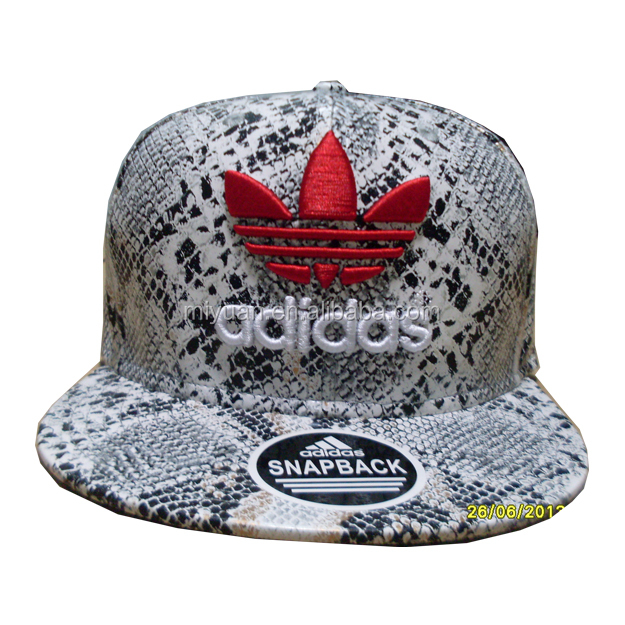 Snake skin pattern PU leather 3D embroidery logo snapback cap and hat with tribal plastic buckle