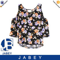 Floral printed off shoulder ladies blouse