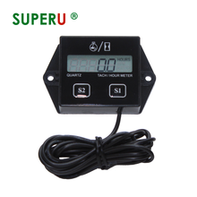 Superu Digital LCD Display Motorcycle Gas Engine Induction Counter Hour <strong>Meter</strong> Gauge induction tachometer