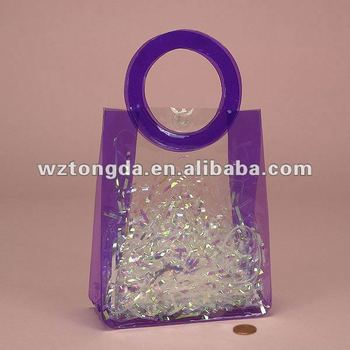Vinyl pvc packing bag for gift with circle handle