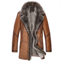 2014 New Mens Fashion Long Fur Collar Fur Leather Coat