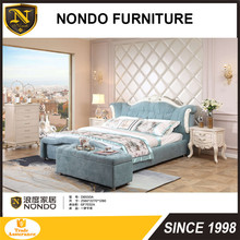 Best kind of soft fabric bed frame with bench and light stand D-B550A design furniture