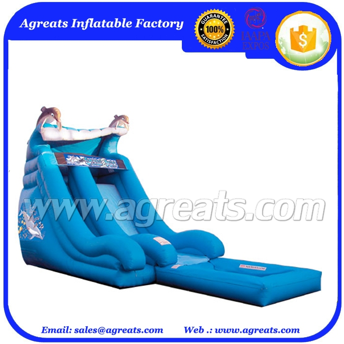 children's inflatable slide pool ,blue dolphin inflatable water slide with pool on sale G4036