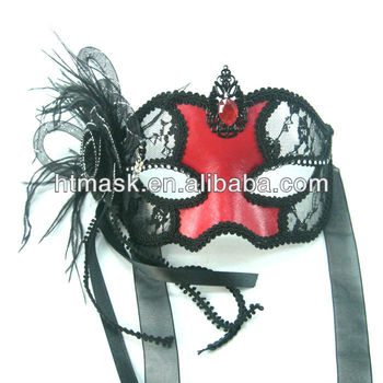 Red Leather Masquerade Lace Masks