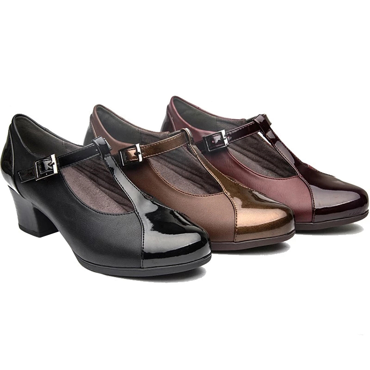 China Spring August fashion Cheap price lady new design women leather shoe with middle <strong>heel</strong>