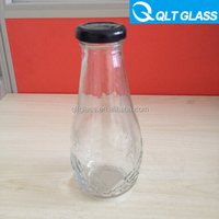 Factory supply 300ml beverage glass bottle, glass juice bottle, soda water glass bottle with crown top or screw cap