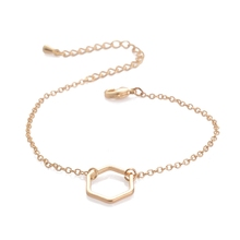 2016 Gold Silver Simple Hollow Line Hexagon second hand thai bracelets for men