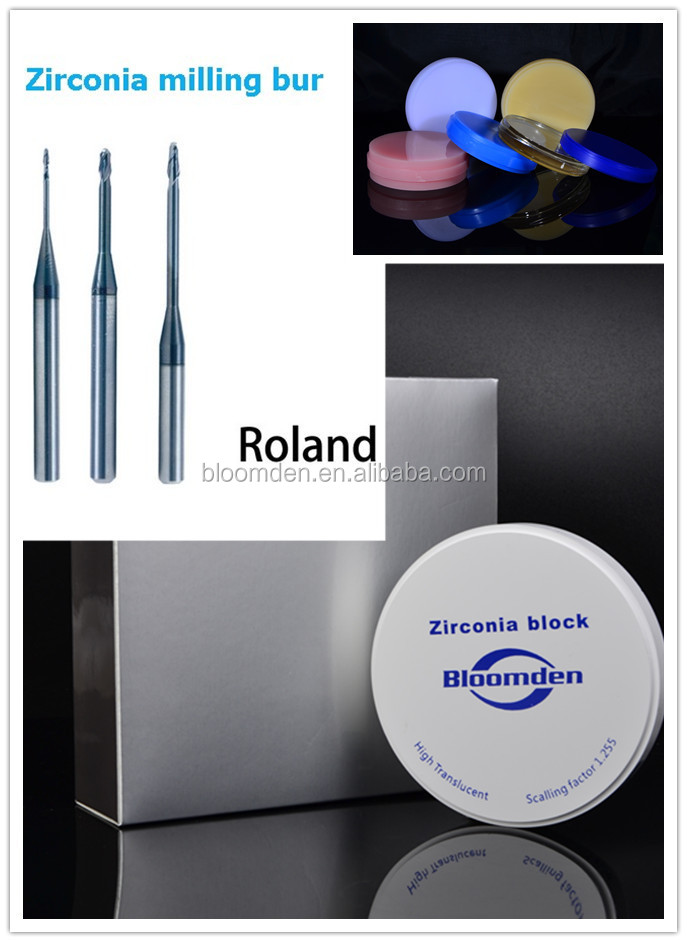 Roland DWX50 dental zirconia /Zirconium oxide /dental milling bur Titanium and diamond coated