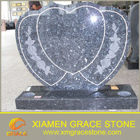 blue pearl Granite Gravestone and monument with heart shape
