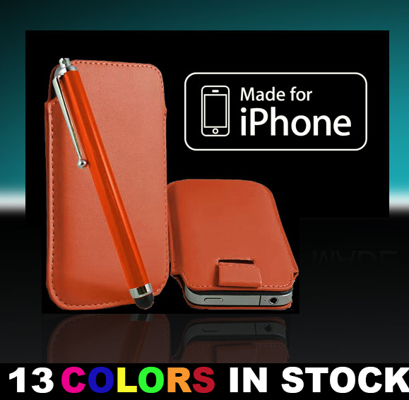 New Selling Leather Flip Case Cover Pouch Sleeve for iPhone 5 5S 5C Color Orange