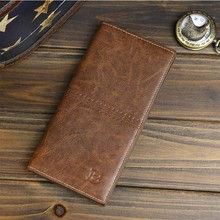 2018 Promotion Slim Men's Vintage Look PU Leather Long Bifold <strong>Wallet</strong>