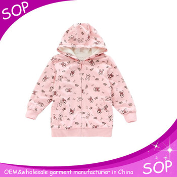 Rabbit printed children hoodies sweatshirt OEM winter girl wear sweatshirts
