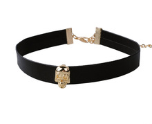 black skull leather choker necklace