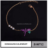 2016 925 Sliver Beautiful Charming Single Cheap Chain Dragonfly Animal Bracelet
