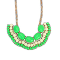 North America neon green beaded new age crystal jewelry 2014 top selling original design acrylic statement necklace PN2166