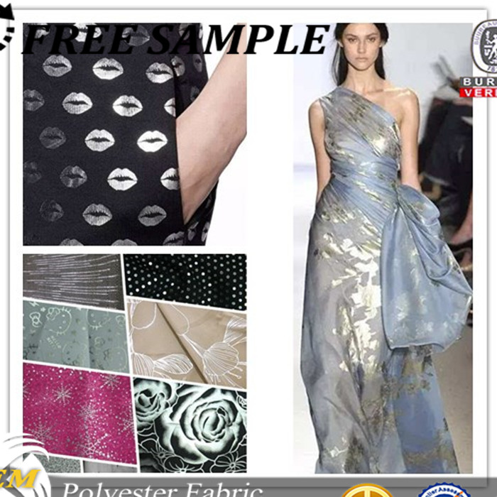 100% polyester fabric gold foil print fabric silver coated fabric for fashion dress coat