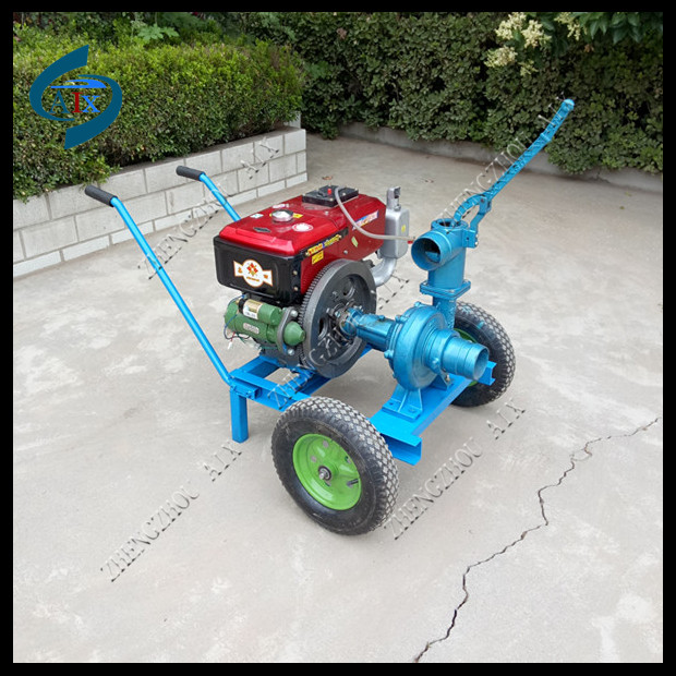 Working flow 60m3 hand push diesel engine irrigation water pump