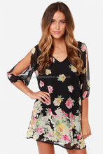 women's cut out bubble Sleeve Chiffon Floral printed Black Sexy Short Casual Tunic Dress/ladies fashion dresses in sialkot