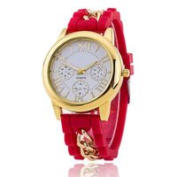 Multi color band watches bright yellow silicone watches diamond crystal silicone geneva watches lady
